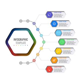 Zeven veelkleurige zeshoekige elementen met dunne lijnpictogrammen in zakelijke infographic sjabloon