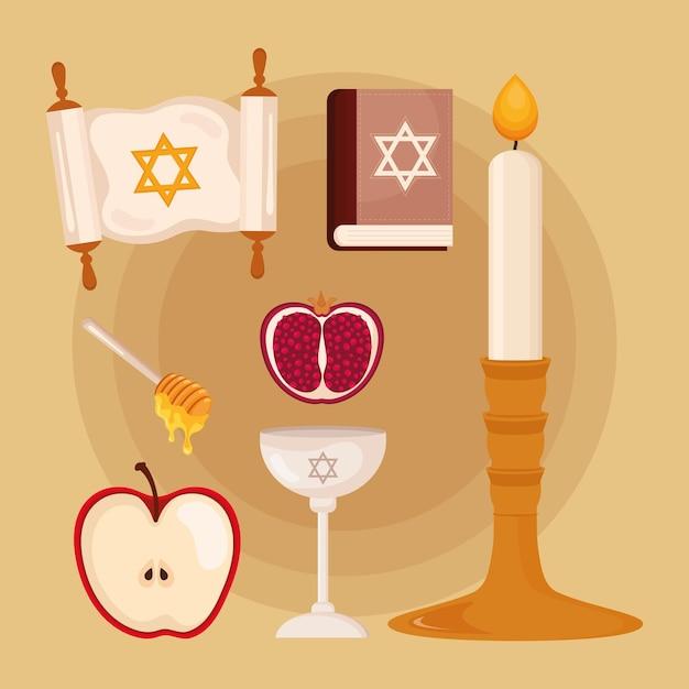 Zeven yom kippur-pictogrammen