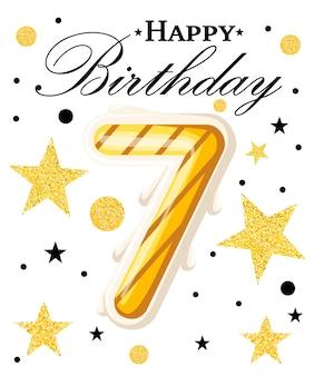 Zevende jaar verjaardag viering jaar verjaardag achtergrond met rood lint en confetti op wit. poster of brochure sjabloon. illustratie. website-pagina en mobiele app.