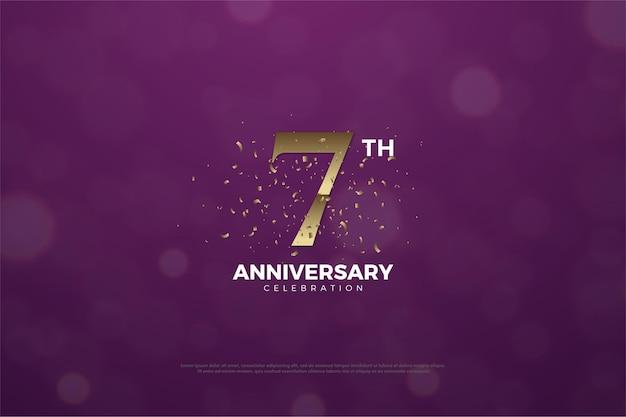 Zevende verjaardag achtergrond met cijfers en en spatten