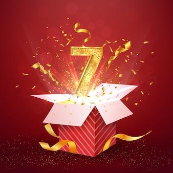 Zevenjarig jubileum en open geschenkdoos met explosies confetti geïsoleerd ontwerpelement