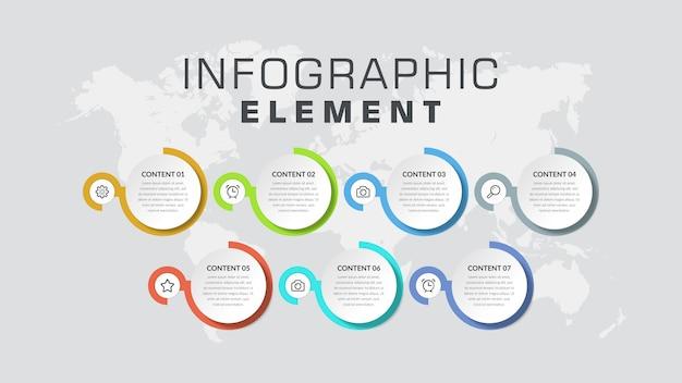 Zevenpunts infographic element bedrijfsstrategie