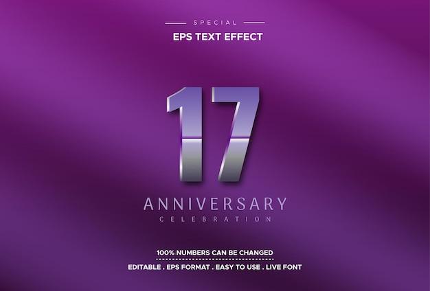 Zeventien verjaardagsteksteffect op paarse achtergrond