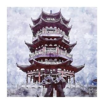 Zhuzhou china waterverfschets met de hand getekend
