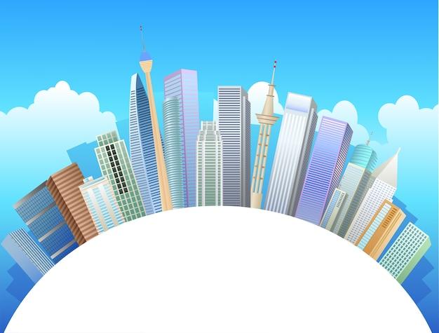 Zicht op de gebouwen