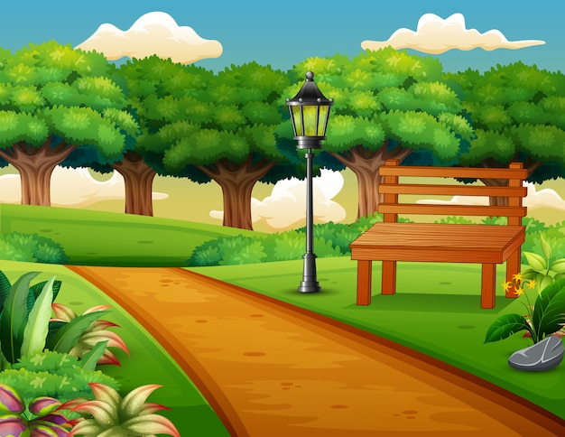Zicht op de weg in een prachtig stadspark