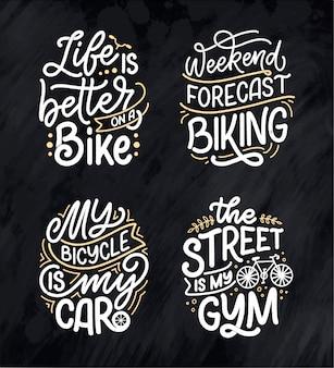Zie belettering slogans over fiets