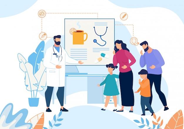 Ziek gezin met hoestdokter cartoon