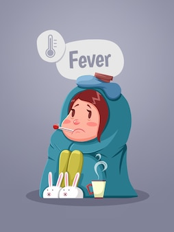 Ziek jong meisje met koorts kopje warme thee drinken. vector illustratie