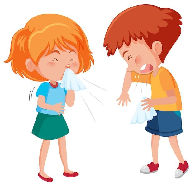 Ziek jongen en meisje die op witte achtergrond hoesten