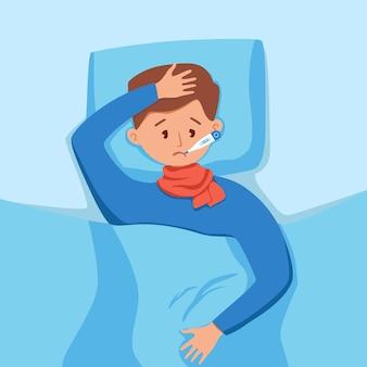 Ziek kind met koorts met thermometer in mond vectorillustratie ongelukkig jongetje feel