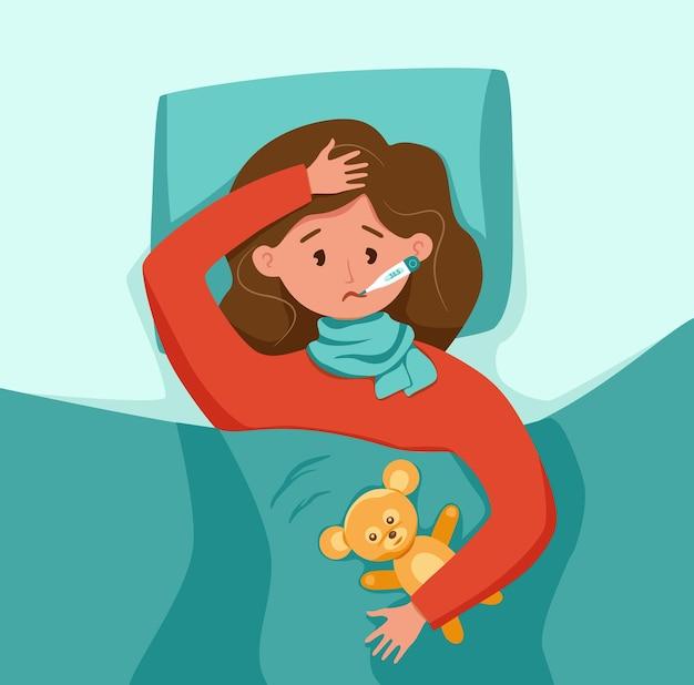 Ziek kind met koorts met thermometer in mond vectorillustratie ongelukkig klein meisje gevoel