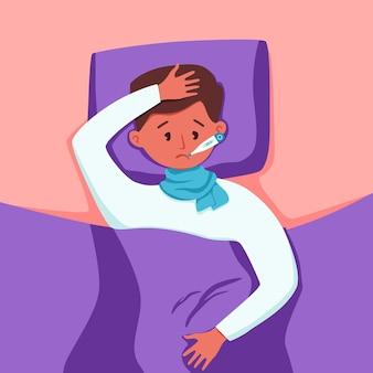 Ziek kind met koorts met thermometer in mond vectorillustratie. ongelukkige kleine jongen voelt zich niet lekker met virus of verkoudheid, heeft hoofdpijn, meet de lichaamstemperatuur die thuis in bed ligt.