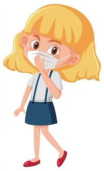 Ziek meisje dat masker op wit draagt