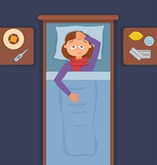 Ziek meisje in bed met de symptomen van verkoudheid, griep. stripfiguur op kussen met deken en sjaal, geneeskunde, citroen, thermometer. illustratie van ongezonde vrouw met hoge koorts, hoofdpijn.