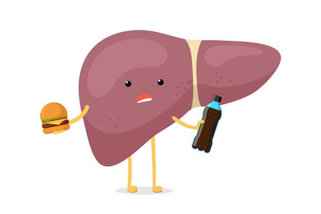 Ziek, ongezond, ziek leverkarakter houdt in de hand fastfood frisdrankfles en hamburger. menselijke exocriene klier orgel vernietiging probleem concept. vector slechte voeding verslaving lever illustratie