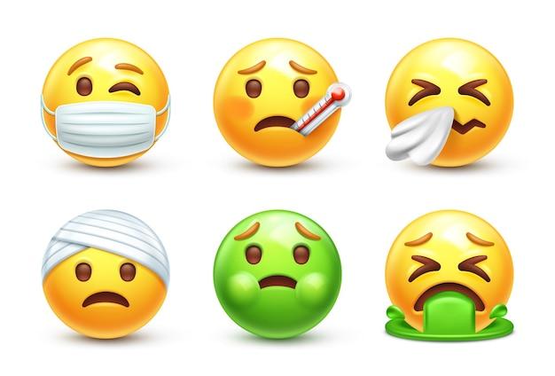 Zieke 3d gestileerde emoji