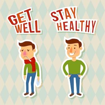 Zieke en gezonde karakters. beter worden. blijf gezond