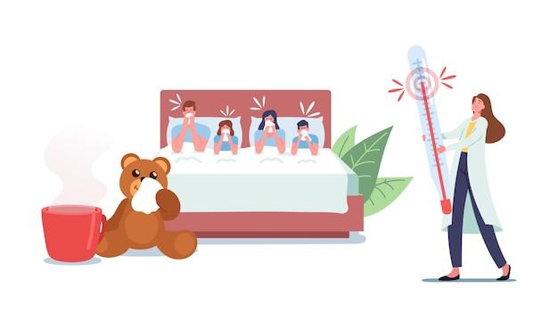 Zieke familiepersonages zitten met koorts in bed, niezen met loopneus. besmettelijke griep of virale ziekte infectiesymptomen. zieke mensen die thuis lijden aan verkoudheidsvirussen. cartoon vectorillustratie