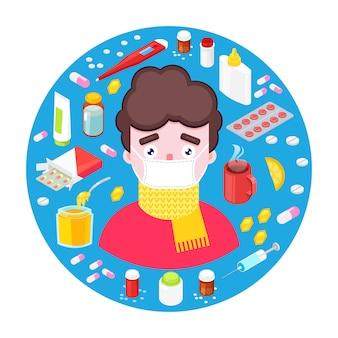 Zieke jongen met verschillende drugs en medicijnen
