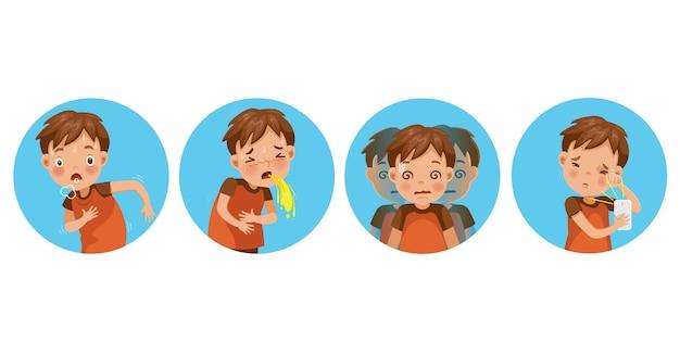 Zieke jongen set. ziekte van het kind. kind hapt naar adem, droge ogen, braken en wazig zien.
