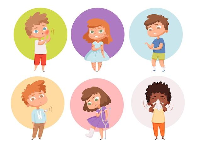 Zieke kinderen. gezondheidsproblemen kinderen griep ongezonde mensen ziekte braken karakters.