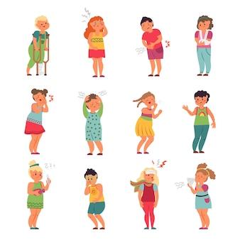 Zieke kinderen. kinderen met hoofdpijn, klein kind ziek. kind niezen, ziekte ziekte of griep. geïsoleerde ongezonde jongen meisje vector tekens. illustratie kinderziekte met hoofdpijn en zieke kinderen