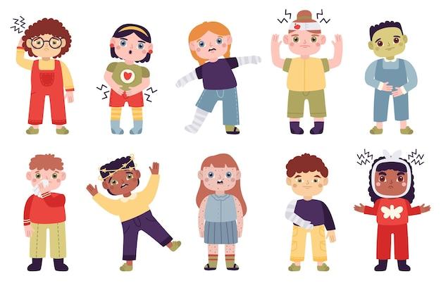 Zieke kinderen. kleine kinderen met ziektesymptomen, hoofdpijn, buikpijn, loopneus en illustratieset