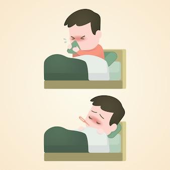 Zieke kindjongen die in bed met een thermometer ligt