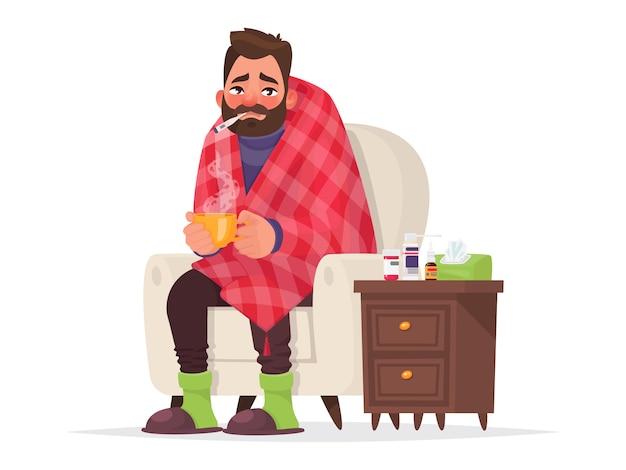 Zieke man. griep, virale ziekte