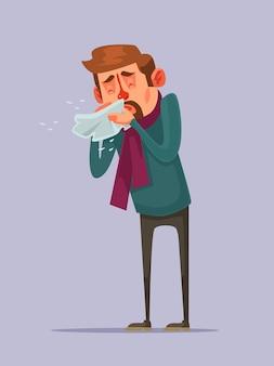 Zieke man karakter niest