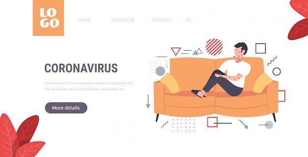 Zieke man met koorts en rode uitslag coronavirus infectiesymptomen epidemie mers-cov-virus wuhan 2019-ncov pandemie gezondheidsrisico concept kopie ruimte volledige lengte horizontaal