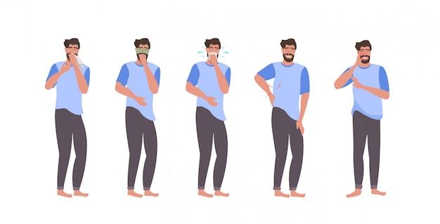 Zieke man tekens instellen met pijn in verschillende delen van het lichaam griep griep symptomen virus ziekte ziekte concept horizontale volledige lengte