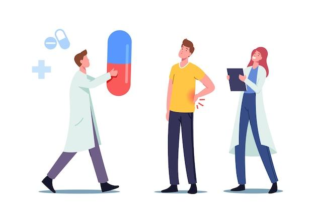 Zieke mannelijke patiënt karakter bezoekende nefroloog arts met pijnlijke nieren infectie pyelonefritis symptomen