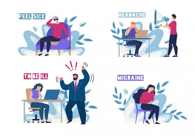 Zieke mensen voelen zich onwel op werkplek platte set