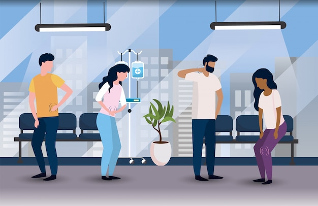 Zieke patiënten in het medische ziekenhuis met stoelen