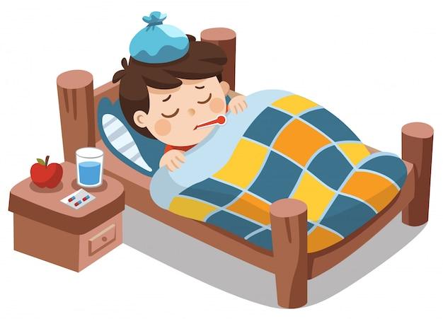 Zieke schattige jongen slaapt in bed met een thermometer in de mond en voelt zich zo slecht met koorts.