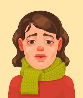 Zieke vrouw karakter platte cartoon afbeelding