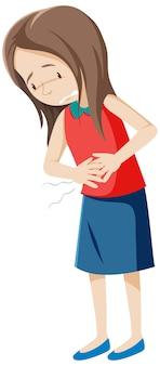 Zieke vrouw met buikpijn op wit
