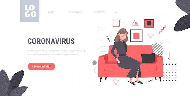 Zieke vrouw met koorts en rode uitslag coronavirus infectiesymptomen epidemie mers-cov virus wuhan 2019-ncov pandemie gezondheidsrisicoconcept volledige lengte horizontale kopie ruimte