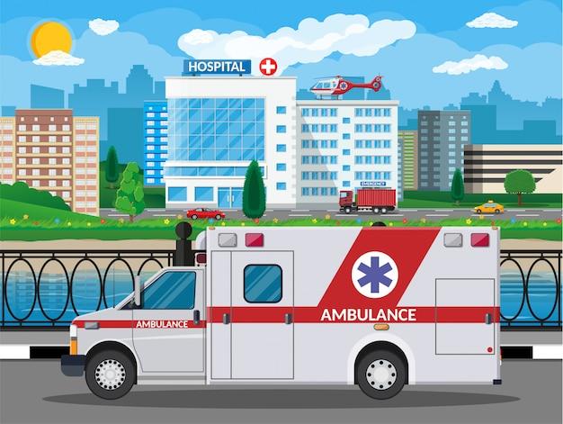 Ziekenhuis bouwen medische achtergrond. gezondheidszorgziekenhuis en medische diagnostiek. spoedeisende hulp en hulpdiensten. cityscape weg rivier hemel zon boom. auto en helikopter. illustratie vlakke stijl