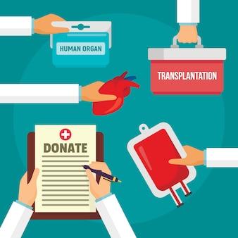 Ziekenhuis doneren organen concept achtergrond, vlakke stijl