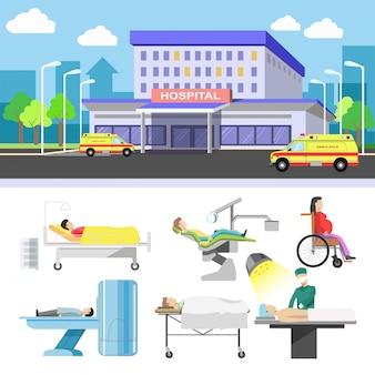 Ziekenhuis gebouw en medische patiënten iconen vector platte set
