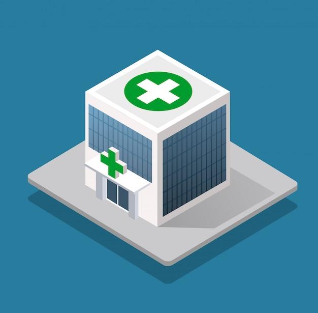 Ziekenhuis isometrische 3d-gebouw