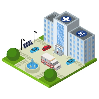 Ziekenhuis isometrische ambulance, illustratie. arts karakter medische noodsituatie auto in de buurt van kliniek concept. gezondheidszorg