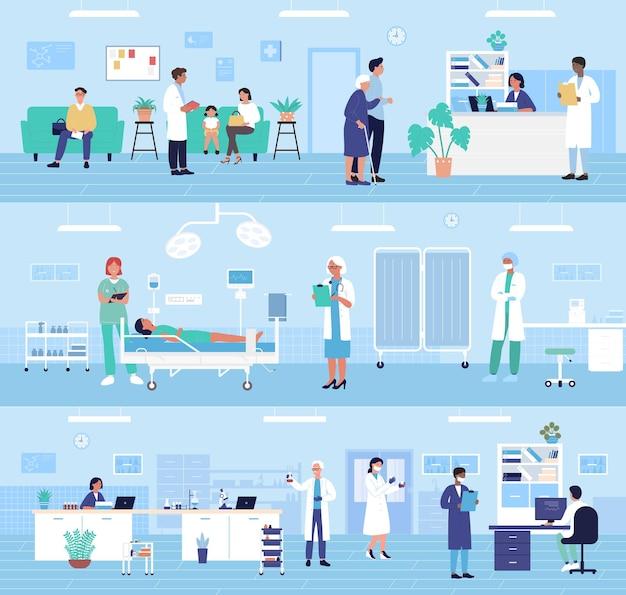 Ziekenhuis kliniek kantoorafdelingen interieur