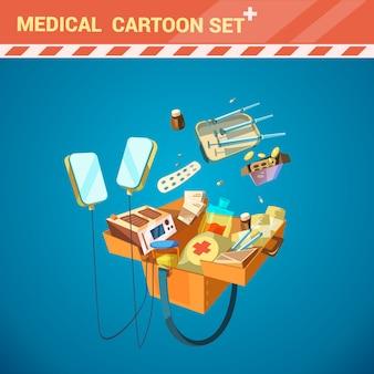 Ziekenhuis medische apparatuur cartoon set met spuit en pillen