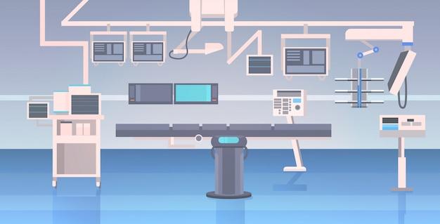 Ziekenhuis operatietafel en medische apparaten moderne kliniek chirurgie kamer interieur intensieve therapie chirurgische procedures concept horizontaal