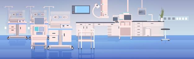 Ziekenhuis operatietafel en medische apparaten moderne kliniek chirurgie kamer ziekenhuis interieur intensieve therapie chirurgische procedures concept horizontaal