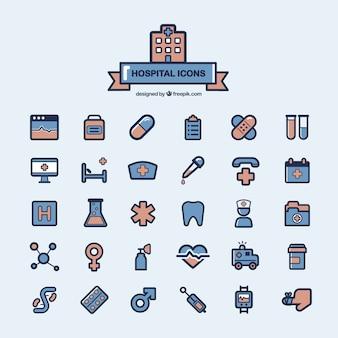 Ziekenhuis pictogrammen collectie Gratis Vector